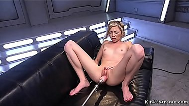 Blonde takes fucking machine in shaved pussy