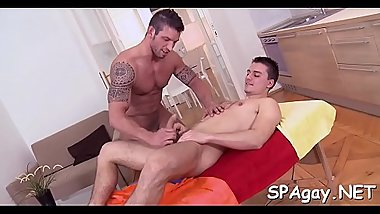 Steamy hawt massage session for slutty gay stud