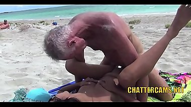 Asian Babe NUDIST BEACH FUCKED By Old Guys