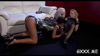 Beautiful lesbian babe moans hard with two big toys on vagina