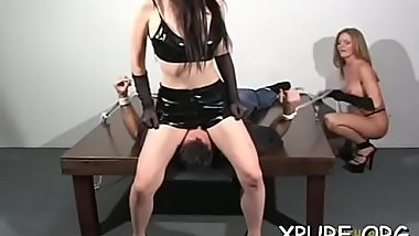 Sexy domina ties up her guy and mistreats him good